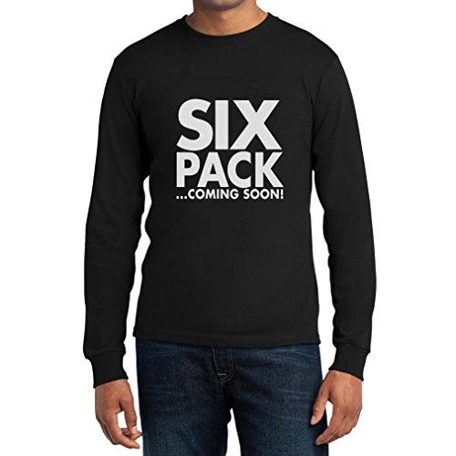 Fitnessstudio Shirt Six Pack Coming Soon - Lustige Sport Fashion Rot Medium Tank Top Langarm T-Shirt Schwarz