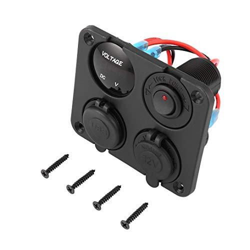 Swiftswan LED-Schalttafel, Zwei USB-Ports Autoladegerät + LED-Voltmeter + 12-24 V Steckdose + EIN-Aus-Schalter 4 in 1 Auto Marine Boat LED-Schalttafel