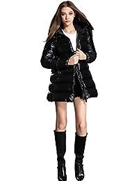 Queenshiny Long Women's Down Coat duck down filling winter down coat jacket black uk size from 8--14 hooded