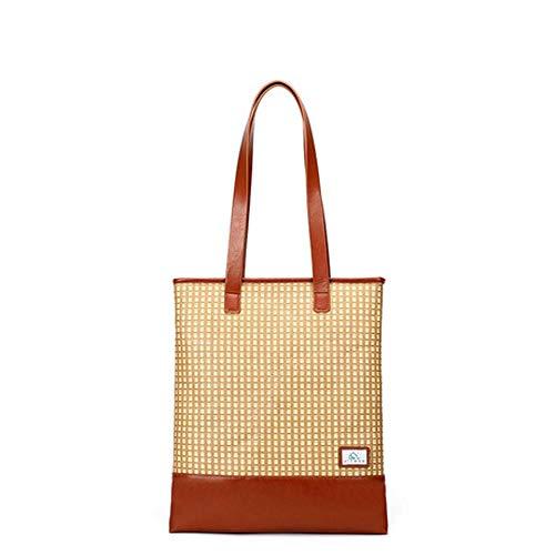 Mzl Frauen Hand Stroh Tasche Rattan Einkaufstasche% 100 Pflanzenfaser Stoff Zip Bucket Bag Größe 43 * 36 * 2cm -