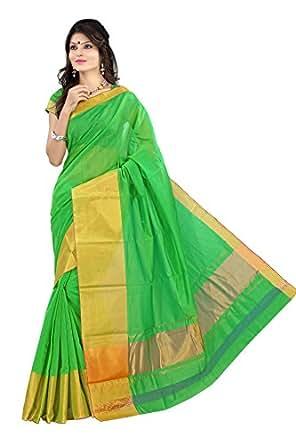 Mimosa Women's Cotton Silk Saree (Mp-Os-Pgreen,Parrot Green,Free Size)