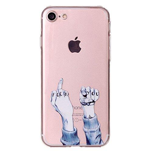 iPhone 7 Hülle, SHUNDA Ultra Dünn Schutzhülle Weiche TPU Silicone Stoßstangen Handyhülle Abdeckung Rückschale Case cover für iPhone 7 (4.7 inch) - Weiß Marmor Finger