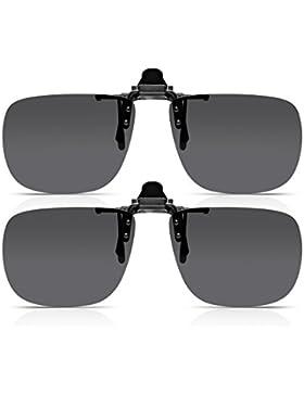 Read Optics DOS PARES Gafas de sol con clip: para hombre / para mujer con lentes polarizados que se ajustan a...