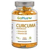 CURCUMA Hochdosiert, Natürliches Curcuma + 95% ig Curcumin Extrakt + Vitamin B3 + Vitamin D3. - Cholesterinspiegel + Antioxidans + Entzündungshemmend, 120 Kapseln im 4 Monatsvorrat