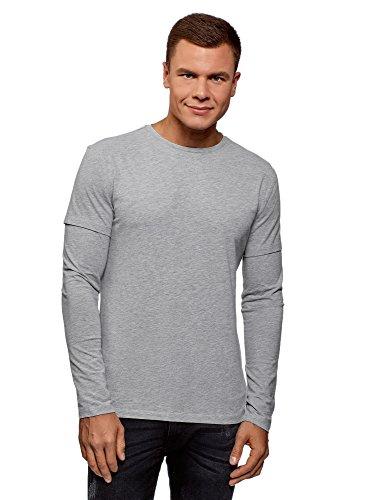 oodji Ultra Herren Baumwoll-T-Shirt mit Doppeltem Ärmel, Grau, DE 56 / XL