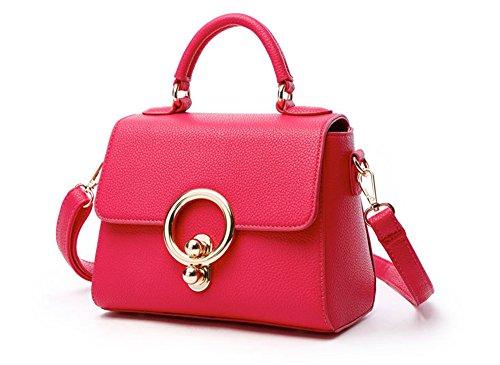 Xinmaoyuan Borse donna in vera pelle borse donna copertura Tipo Portatile obliqui di spallamento pacchetto trasversale,Nero Rose Red