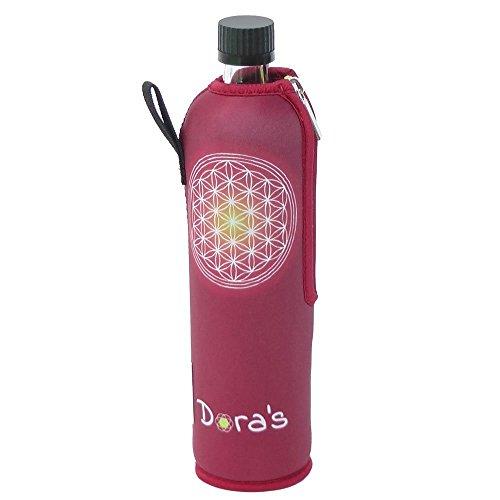Dora´s Glasflasche mit Neoprenbezug 500 ml (Blume des Lebens rot)