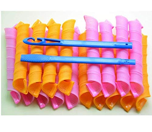 Manuelle Lockenwickler, Marmor, aus Kunststoff, mit Friseurwerkzeug, für Damen, 45 cm, Orange und Rosa, 18 Stück