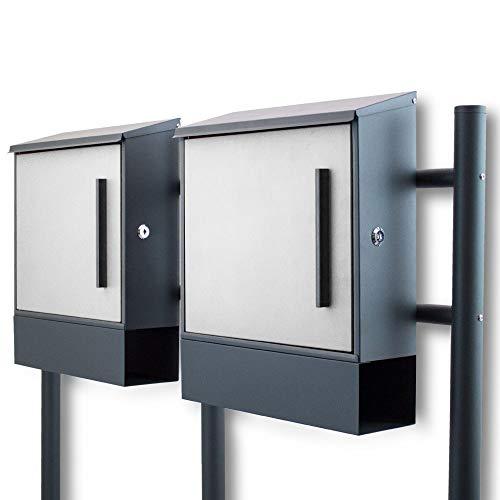 BITUXX® Freistehender Doppelstandbriefkasten Briefkastenanlage Seitenschloss und Zeitungsfach unten Dunkelgrau/Hellgrau