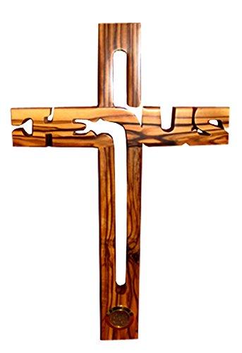 HolyRoses Kreuz Olivenholz Jesus Wand & Heiligen Earth Erde Flakon Kapsel 16cm/15,2cm Gebet Karte (Hängen Christliche Kreuz Das Wand)