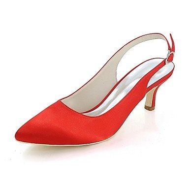 Wuyulunbi@ Scarpe donna raso Primavera Estate della pompa base scarpe matrimonio punta per la festa di nozze & sera un Champagne Blu Rosso Fuchsia Rosso