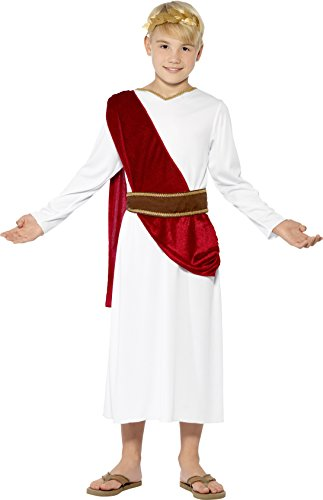 Smiffys Children's Roman Boy Costume, Robe, Belt and Headpiece, Size:L, Colour: White, 44061