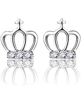 Wunhope Ohrringe Damen Mädchen 925er Sterling Silber mit AAA Zirkonia Kronprinzessin Mode Klein Hypoallergen Stecker