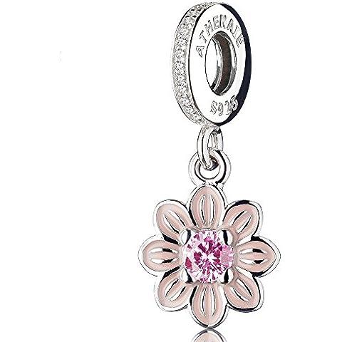 ATHENAIE 925 argento sterling romantico rosa smalto poetico bloom ciondoli con cz pietra zodiacale penzolare fascino sta tutta europea braccialetti collana