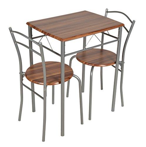 ts-ideen 3er Set Essgruppe Esstisch Küchentisch Tisch Stühle platzsparend Alugestell in Silber und Nussbaum-Optik 59 x 44 cm für die Küche Esszimmer Studentenwohnung -
