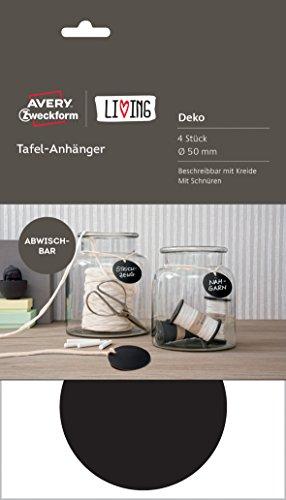 Avery Zweckform - Etiquetas, diseño para pizarras, color negro Etiquetas de colgar redondas