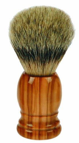 Fantasia Blaireau, en bois d'olivier et poils de blaireau à pointe argentée Hauteur 10,5 cm, Ø 4 cm