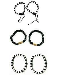 SMARNN Nazar kada Bangles Bangle set Nazariya for New born baby boy girl kid child jewellery with Black and White Beads (0-9 months)