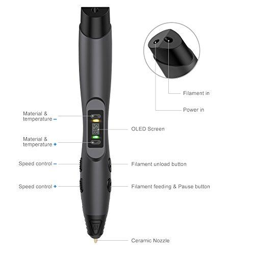 3D Drucker Stift – Aerb DIY Scribbler 3D Stereo Scopic Druck Stift mit LCD-Bildschirm, intelligente Temperaturregelung, kompatibel mit ABS und Pla Filament 1,75 mm, Anzug für Kinder, Erwachsene und Künstler - 2