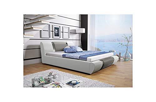 MG Home Bett Bettkasten Lattenroste Doppelbett Polsterbett Kunstleder Atena (Kunstleder Weiß 120 + Kunstleder Grau 191, 200 x 200 cm)