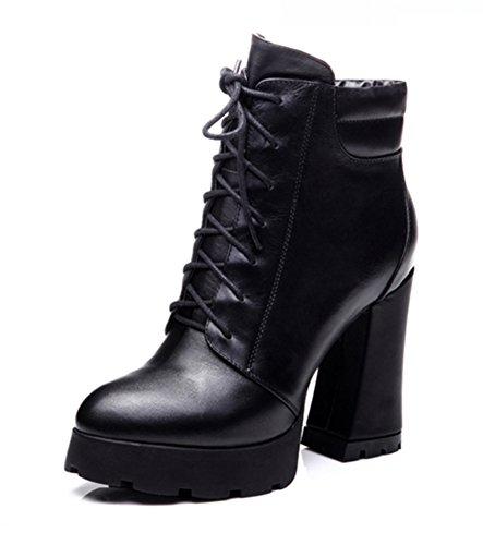 bottes d'automne et d'hiver/Martin bottes, talons hauts/Bottes de mode/Nu et brut avec des bottes lacées A
