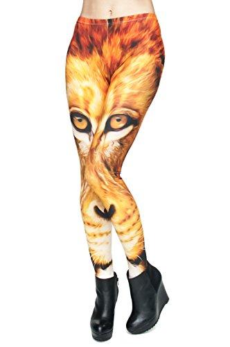 Long Femmes Filles Leggings Jegging imprimé Fitness Pantalon Skinny stretch Galaxy Pantalon de sport d'entraînement Multicolore - Lion