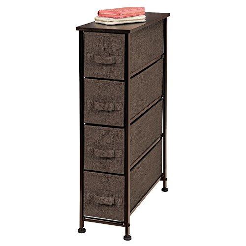 Mdesign cassettiera in tessuto – comò con 4 cassetti – pratico organizer con cassetti ideale per camera da letto e bagno – marrone scuro