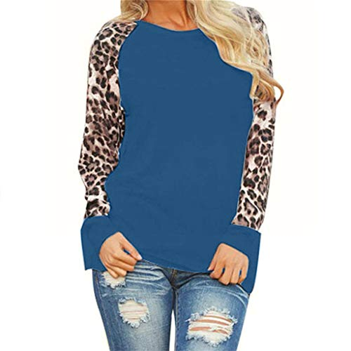 LILICAT Damen Langarm T-Shirts Leopard Drucken Langarmshirts Mode Casual Tunika Tops Lose Sweatshirts Lässige Rundhals Lange Ärmel Pullover Sport Bluse Vintage Elegant Longshirts -