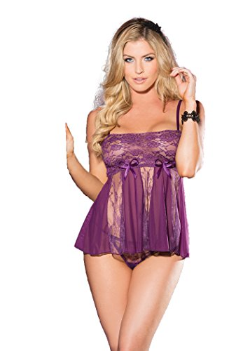 Shirley of Hollywood Nr. 96120 One Size Violett Stretch Spitze und Sheer Net Babydoll (Shirley Hollywood Sheer Net Of)