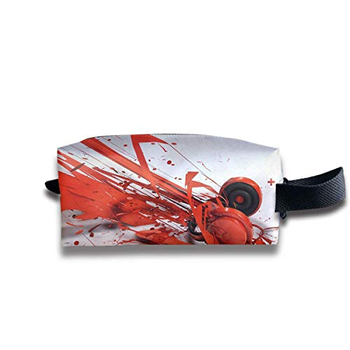 Makeup Cosmetic Bag Abstract Red Headphone Pattern Medicine Bag Zip Travel Portable Storage Pouch for Mens Womens -