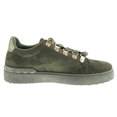 Angkorly damen Schuhe Sneaker Keilabsatz - low - Perle - Nieten - besetzt - golden flache Ferse 2.5 CM Grüne