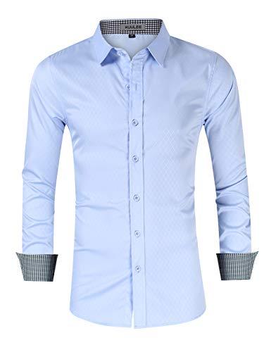 KUULEE Hombre Camisa Manga Larga Slim Fit Camisa Vaquera/Camisa