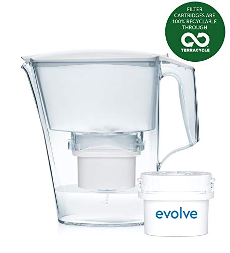 Aqua Optima EJ0631 Liscia Water Jug with 1 x 30 Day Evolve Filter-1 Month Pack, Plastique, White, 10 x 26 x 24 cm