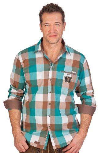H1401 - Trachtenhemd langer Arm - SYROS - SLIM - aqua, blau, grün, rot, Größe 49/50