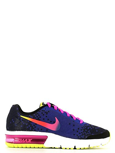 Nike Mädchen Air Max Sequent Print (GS) Turnschuhe, Rosa/Grün (Schwarz/Deep Pink-Nacht-Fire VLTs), 38 1/2 EU