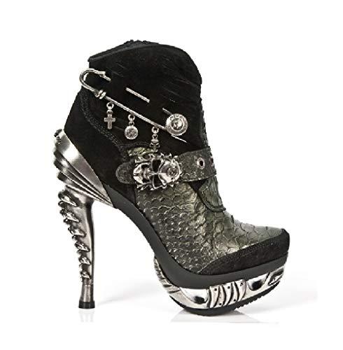 New Rock M.MAG032-S1 Zapatos Mujer Chica Cuero Negro Verde Acero Piel Tacón Punk Heavy GoticO Western Cowboy