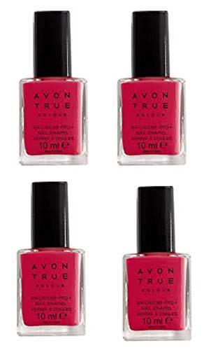 4Stück Avon True Farbe Nailwear Pro + Nail Emaille-Echt Rot X 10ml -