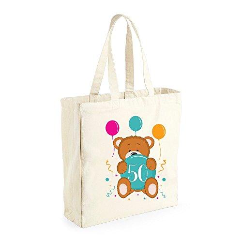 50th Birthday 1969 Keepsake Teddy Bear Tote Bag