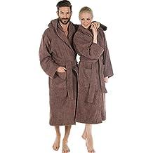 Rizo–Albornoz con capucha Algodón, abrigo de sauna para hombre y mujer, calidad Bata de Celin ATEX con Öko-Tex, serie Montana Uni Walk abrigo, algodón, marrón, large