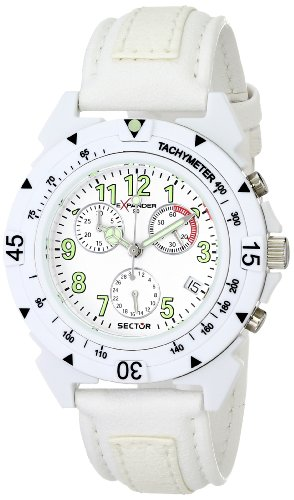 Sector R3271697045 - Reloj cronógrafo unisex de cuarzo con correa de plástico blanca