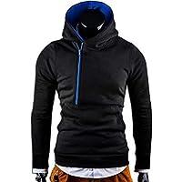 Delicacydex W06 Winter Men's Hooded Coat Casual Male Coat Cardigan Fashion Slanted Zipper Long Sleeve Letter Printing Cardigan - Black XL
