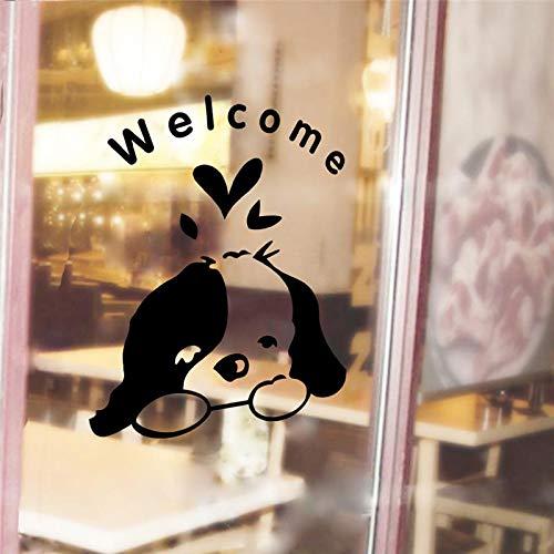 Niedlichen hund willkommen zu hause aufkleber wanddekoration diy türschild fenster aufkleber mual kunst pet poster (Zu Baby-dekorationen Willkommen Hause)