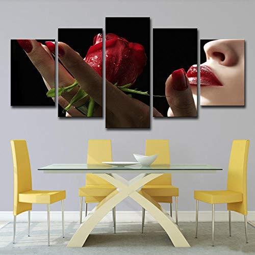 Fbhfbh Leinwandbild 5 Stücke Rote Rosen In Handgemalte Blumen Und Roten Lippen Wohnzimmer Wandbild Kunst Wohnkultur- 4X6/8/10Inch,With Frame