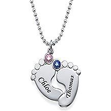 39f1fa7c9468 Colgante de pies de bebé personalizado con Birthstones - Collar por encargo  con cualquier nombre y