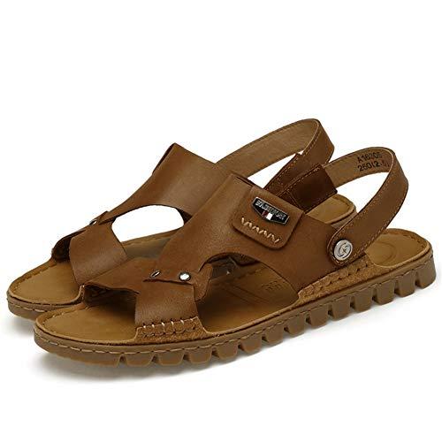 Lxmhz sandali da uomo, sandali sportivi all'aperto, comodi sandali ortopedici in vera pelle di bufalo, scarpe da spiaggia da ginnastica casual,1,43