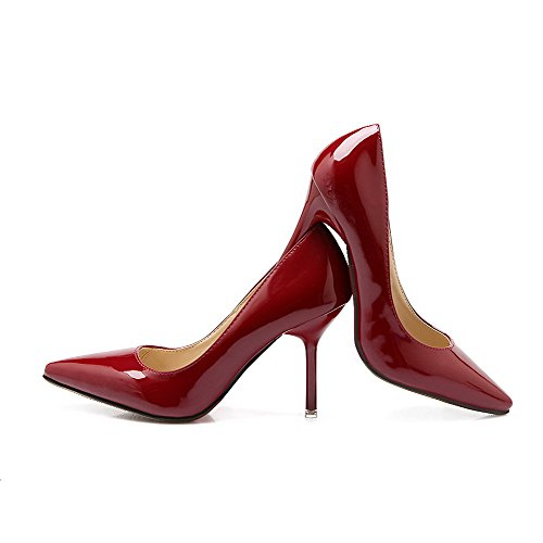 AalarDom Femme Stylet Pointu Tire Matière Souple Chaussures Légeres Rouge Vineux-Microfibre