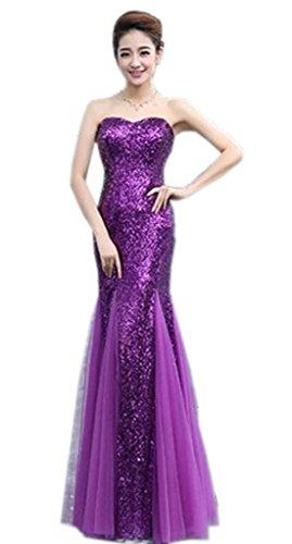 Bigood Femme Robe de Soirée Mermaid Bustier Pailleté Peplum Moulante Swing Slimmer Violet