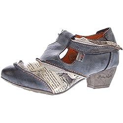 TMA Leder Damen Spangen Pumps Echt Leder Comfort Schuhe TMA 6716 Halbschuhe Schwarz-Grau Gr. 38