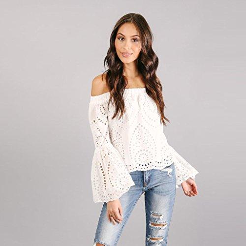 Camiseta Mujer ❤️ Amlaiworld Blusa con hombros descubiertos Hueco sexy Mujer Suelto Camiseta Casual de manga larga con cuello en V Tops camisas mujer fiesta elegantes (Blanco, L)