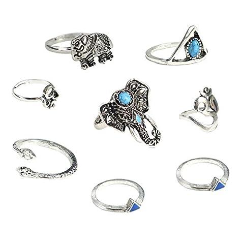 LUFA 8PCS Femmes Anneau Set Bohême Style Vintage Anneaux Anneau Turquoise Elephant Serpent Coeur Anneaux